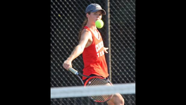 Eye on the ball. With just one singles loss this season, No. 1 singles player and senior Gracie Waldron leads the Clinton High girls tennis team in a defense of its 2015 Region Championship. Waldron won matches late last month against Woodruff and Chapman opponents, and teamed with Elizabeth Jones for No. 1 doubles wins in those matches, also.