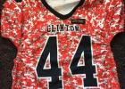 The Clinton Red Devils will be wearing these alternate digi-camo jerseys. Pictured is Tashymen Boyd's jersey.